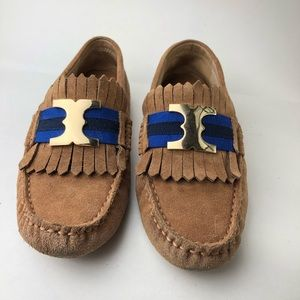 Tory Burch tan leather driver loafers